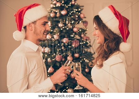 Two happy lovers clincking with glasses of shampagne on new year party