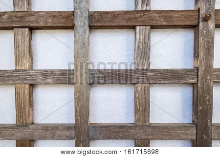 a wooden grid over a wall helps grow vines