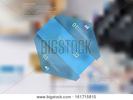 Illustration infographic template with motif of hexagon askew divided to three blue sections. Blurred photo with financial motif is used as background with few charts coins and calculator.