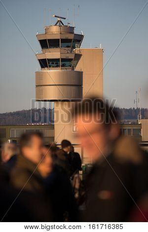 Traffic control tower at the Zurich International Airport in Kloten, Switzerland