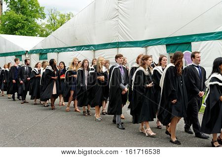 DURHAM, ENGLAND - JUNE 30, 2016: Congregation (Graduation) Ceremony at the University of Durham celebrating the conferring of degrees.