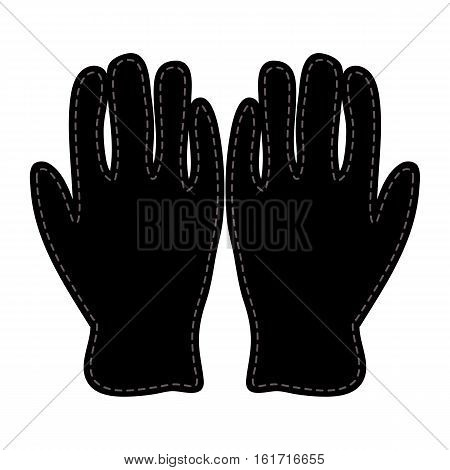 Winter Gloves Silhouette Icon Symbol Design. Vector  Leather, Wool Gloves Illustration Isolated On W