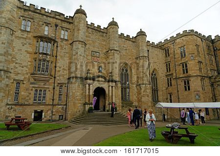 DURHAM, ENGLAND - JUNE 30 2016: Durham Castle in - a Norman castle originally built in the 11th century it is part of University College. With the Durham Cathedral it is a UNESCO World Heritage Site.