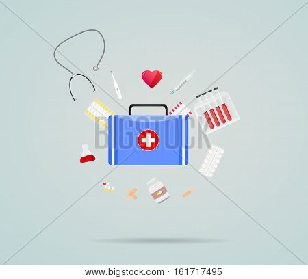 Medical icons thermometer first aid kit vector