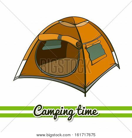 Hand drawn tent isolated on white background. One image of series Camping time. Vector illustration
