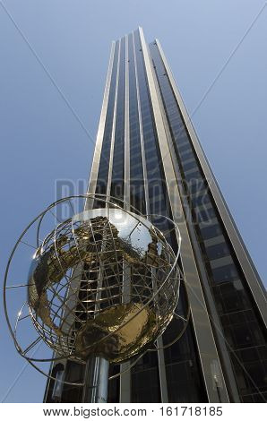 New-York-City USA - May 4 2015: globe structure in front of Trump hotel on Columbus Circle in Manhattan