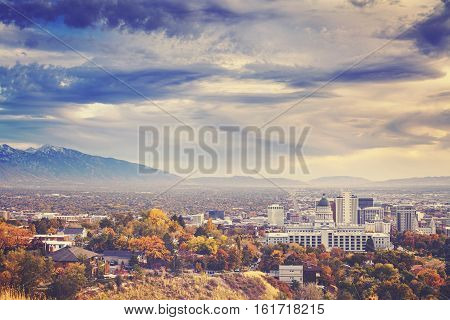 Color Toned Picture Of Salt Lake City Downtown, Usa.