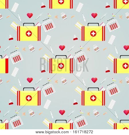 Seamless pattern with medical icons healthcare first aid kit band-AIDS antibiotics