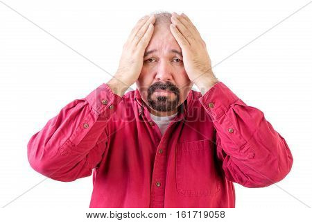 Depressed Middle Aged Man With Head In Hands