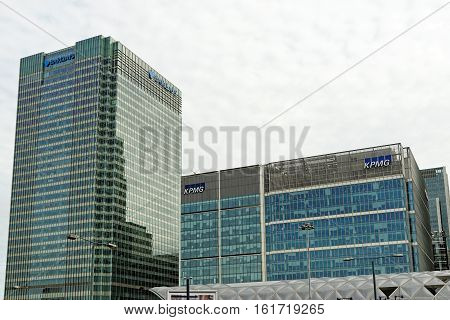 LONDON ENGLAND - JULY 7 2016: KPMG UK Headquarter. KPMG based in Canary Wharf is a leading provider of financial services and is the largest accounting firm in Europe.