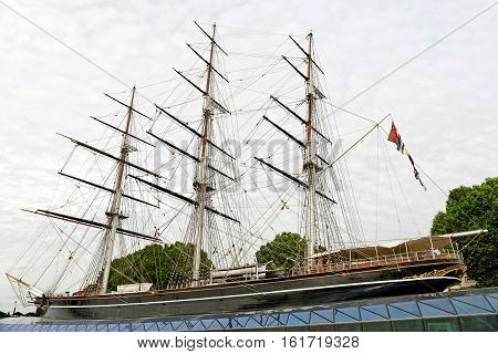 LONDON ENGLAND - JULY 7 2016: Cutty Sark the world's sole surviving tea clipper and fastest ship of her time now an award-winning visitor attraction in Greenwich.