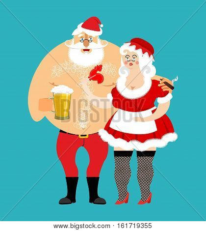 Bad Santa And Mrs. Claus Isolated. Drunk Christmas Family. Woman In Red Dress And White Apron. Cheer
