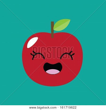 Apple kawaii cartoon kid design icon vector stock