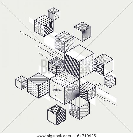 Abstract geometric composition with decorative cubes