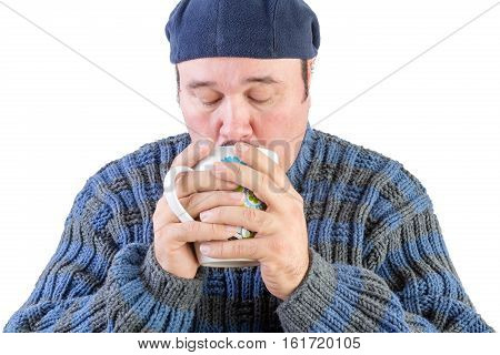 Middle Aged Man Drinking Hot Beverage