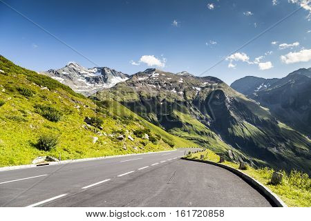 High mountain pass road in Austria, summer time