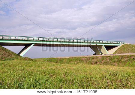 Bridge - junction of highway and motorway on the plains.