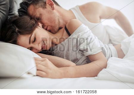 Beautiful Romantic Couple Foreplay In Bed