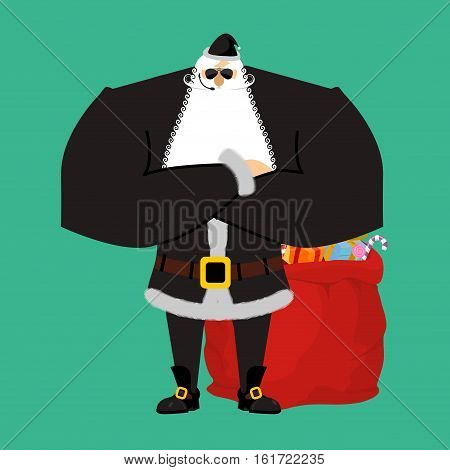 Santa Claus Bodyguards. Christmas Security Guards. Protecting Red Bag For New Year. Defenders Of Sac