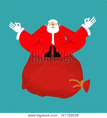 Santa Claus Yogi And Red Bag With Gifts. Christmas Yoga. New Year Zen. Grandfather In Lotus Position