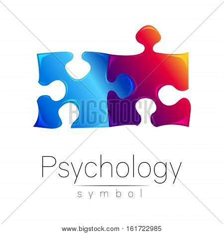 Modern Psi sign of Psychology. Puzzle. Creative style. Symbol in vector. Design concept. Brand company. Blue violet color isolated on white background. Icon for web, print , card
