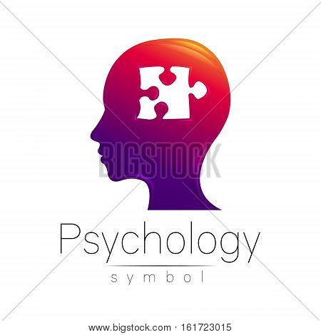 Modern head sign of Psychology. Puzle. Profile Human. Creative style. Symbol in vector. Design concept. Brand company. Violet color isolated on white background. Icon for web