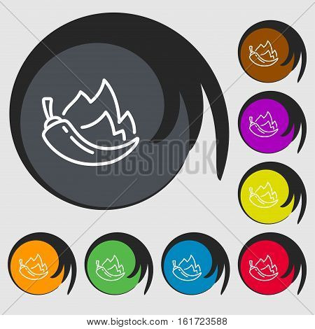 Chilli Pepper Icon Sign. Symbols On Eight Colored Buttons. Vector
