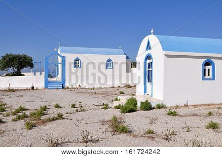 Typical Greek white church building ,island Kos,Greece