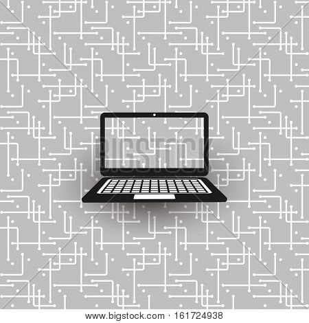Networks, Connections, Mobility - Laptop on Black and White Mesh Pattern - Abstract Vector Background