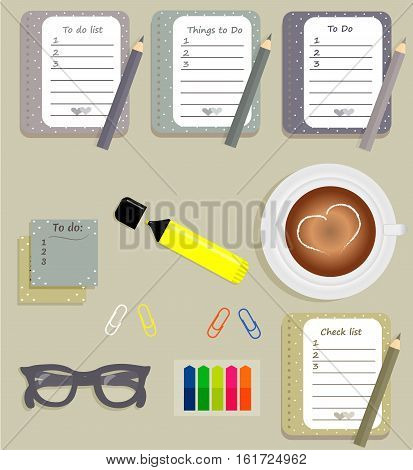 Stationery: The sheets of the planner in a cute polka dots. To Do Lists with little hearts. Stiсkers. Marker. Cup with coffee on saucer. Dark blue glasses. Pencils. Clips. Vector illustration.