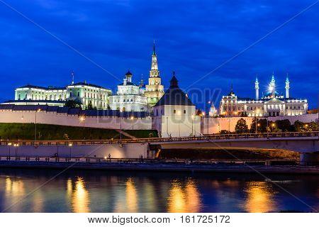Night view of Kazan Kremlin, Kazan, Tatarstan, Russia