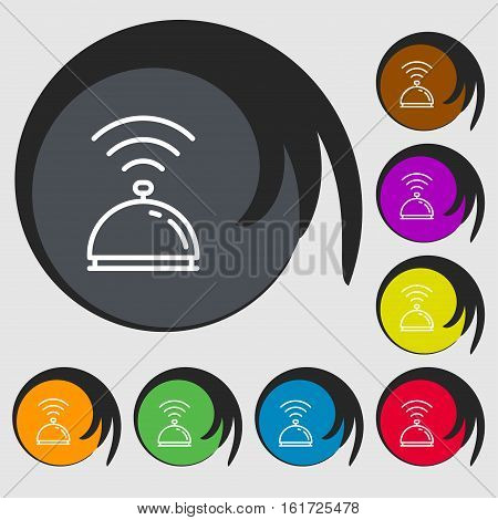 Tray Icon Sign. Symbols On Eight Colored Buttons. Vector