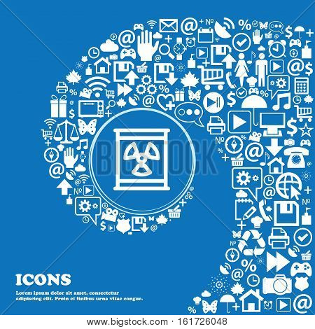 Radiation Icon Sign. Nice Set Of Beautiful Icons Twisted Spiral Into The Center Of One Large Icon. V