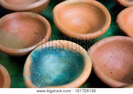 Empty earthenware pots, diyas, used for lighting during the hindu festival of diwali