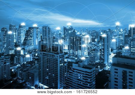 Night cityscape and internet network connection cloud technology for communication business and technology concept