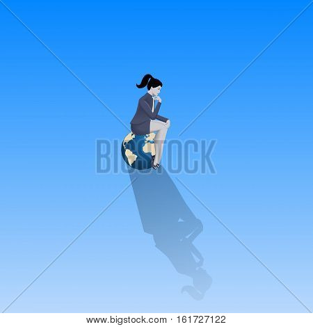 Loneliness on Olymp business concept. Pensive business woman in business suit sitting on the top of earth glove alone with only space around her. Isolation responsibility decision consequences.