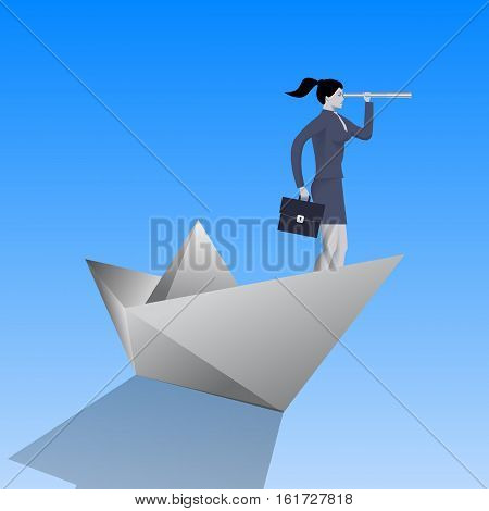 Swimming on paper boat business concept. Confident business woman in business suit with case and looking glass swimming on paper boat. Searching for opportunities looking for solution.
