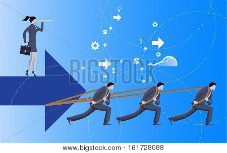 Team with vision business concept. Three confident businessmen in suits pull big arrow with business woman on top of it with case and looking glass. Team teamwork vision prediction plan.