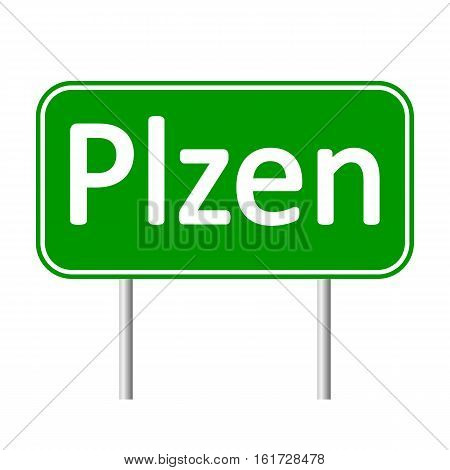 Plzen road sign isolated on white background.