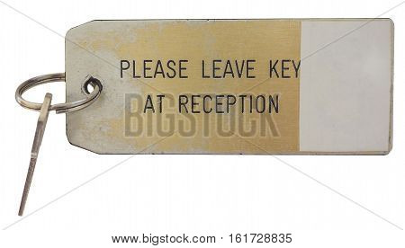 Hotel Room Key Isolated Over White