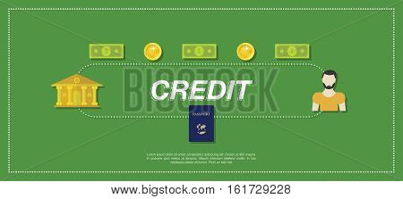 Bank, money and people in the green background. Flat vector illustration EPS10