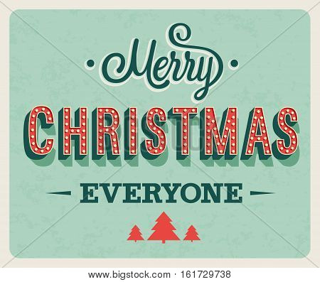 Merry Christmas vintage greeting card. Vector illustration.