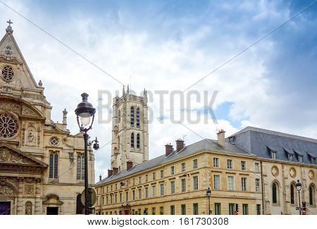 PARIS, FRANCE - June 26, 2016 : beautiful Street view of  Buildings around Paris city. Paris is the capital and most populous city of France. June 26, 2016, Paris, France.