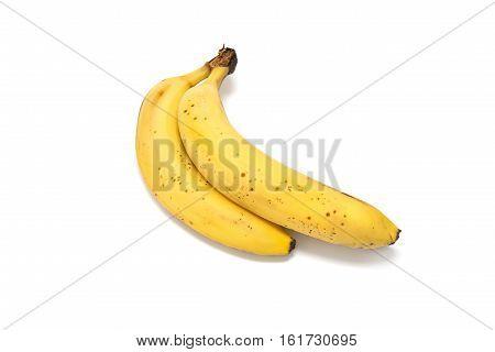Ripe yellow bananas isolated on white background
