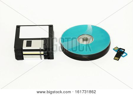 On a white background are Floppy CD / DVD disk and USB flash