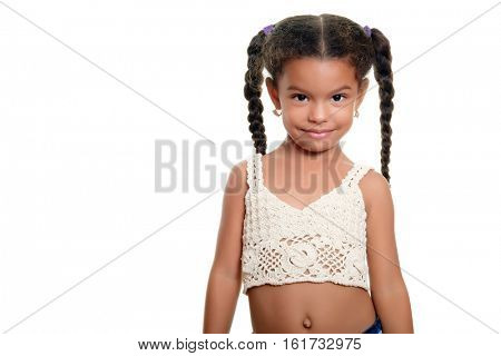Portrait of a cute african american small girl isolated on a white background