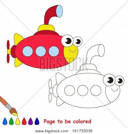 Red submarine to be colored. Coloring book to educate kids. Learn colors. Visual educational game. Easy kid gaming and primary education. Simple level of difficulty. Coloring pages.