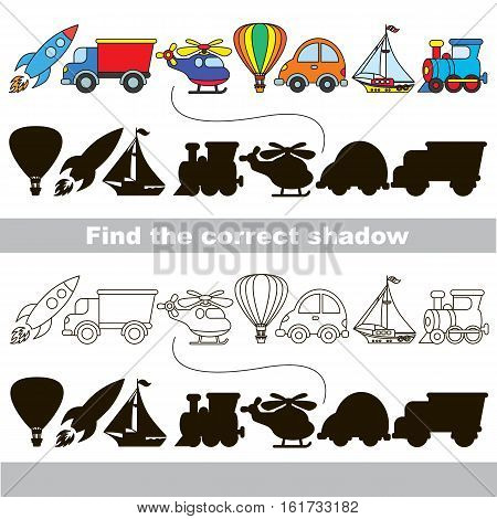 Funny transport shadow set with shadows to find the correct one. Compare and connect objects and their true shadows. Easy educational kid gaming. Simple game level. Logic game for children. Part one.