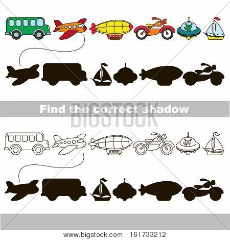 Funny transport shadow set with shadows to find the correct one. Compare and connect objects and their true shadows. Easy educational kid gaming. Simple game level. Logic game for children. Part two.