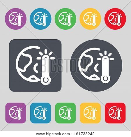 Global Warming, Ecological Problems And Solutions, Thermometer Icon Sign. A Set Of 12 Colored Button